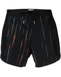 Saint Laurent Stripe Print Swim Shorts - Black