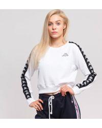 White//Black Kappa Women 222 Banda Amay Crew Sweatshirts