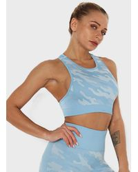 FITGIRL UNIVERSETM Camou Seamless Sports Bra - Blue