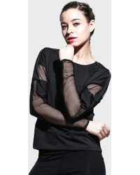 FITGIRL UNIVERSETM Fishnet Insert Long Sleeve Shirt - Black