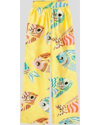 Rianna + Nina Melina Yellow Print Shantung Trousers