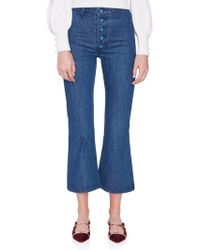 STAUD Helena Button Front Jean - Blue