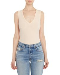 Getting Back to Square One - Sleeveless V-neck Bodysuit In Blush - Lyst