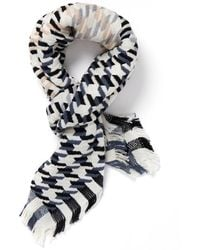 Jane Carr Puppytooth Black And White Scarf