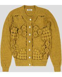 BATSHEVA Mustard Crochet Cardigan - Yellow