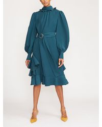 ADEAM Long Sleeve Ruffle Trim Scarf Dress - Blue