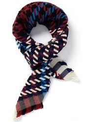 Jane Carr Puppytooth Blue And Red Scarf