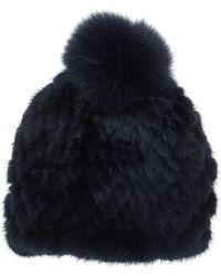 Pologeorgis - Navy Pom Pom Fur Hat - Lyst