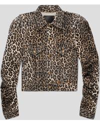 R13 Kelsey Leopard Shirring Denim Jacket - Multicolor