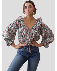 MILLE May - Pink Floral Top With Ruffle V-neck - Multicolor