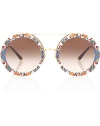 34a7f312cc5 Dolce   Gabbana - Print Clip-on Sunglasses - Lyst. Dolce   Gabbana - Round  Clip-on Sunglasses In Gold Metal With Stripe And Rose