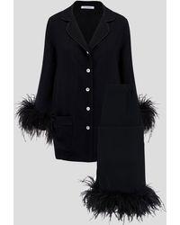 Sleeper Party Feather Pajama Set - Black