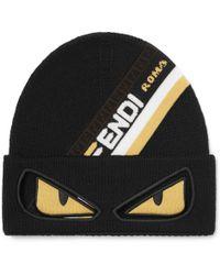 Fendi - Bag Bugs Logo-jacquard Wool Beanie - Lyst