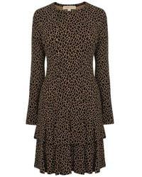 MICHAEL Michael Kors Leopard Print Midi Dress - Black