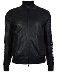 Emporio Armani Tape Logo Leather Bomber Jacket - Black
