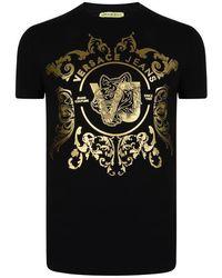 b87e743b2 Versace Jeans - Metallic Foil Logo T Shirt - Lyst