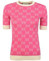 Gucci All Over Knitted Jumper - Pink