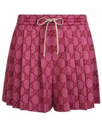 Gucci - Gg Technical Jersey Pleated Shorts - Lyst