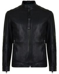 BOSS Jagson Leather Jacket - Black