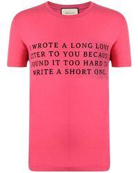 Gucci Love Print T Shirt - Pink