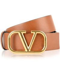 Valentino Logo Belt - Brown