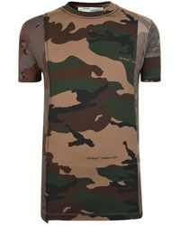 Off-White c/o Virgil Abloh Paneled Camouflage T Shirt - Multicolor
