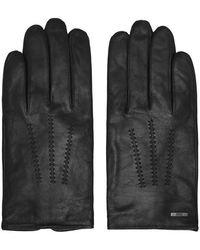 BOSS Hainz Leather Gloves - Black