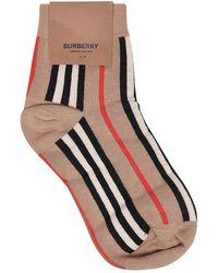 Burberry Striped Cotton-blend Socks - Natural