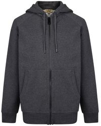 Burberry Embroidered Logo Jersey Hooded Sweatshirt - Gray