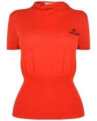 Vivienne Westwood Anglomania Drape Collar Knitted Top - Red