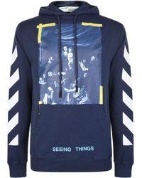 Off-White c/o Virgil Abloh - Diagonal Print Hooded Sweatshirt - Lyst