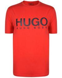 HUGO - Olive Logo T Shirt - Lyst