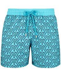 Vilebrequin Flocked Anchor Moorea Swim Shorts - Blue