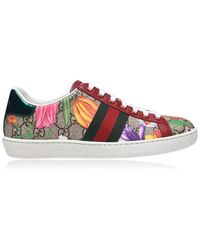 Gucci New Ace Gg Floral Trainers - Red