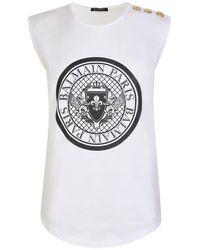 Balmain Medallion Print Vest - White