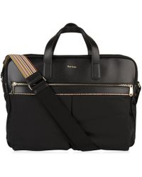 Paul Smith - Leather And Canvas Briefcase - Lyst