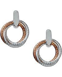 Links of London - Aurora Cluster Sterling Silver And 18kt Rose Gold Vermeil Hoop Earrings - Lyst