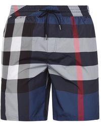 Burberry Big Check Swim Shorts - Blue