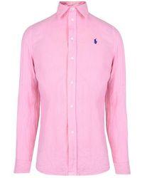 Polo Ralph Lauren Linen Long Sleeve Shirt - Pink