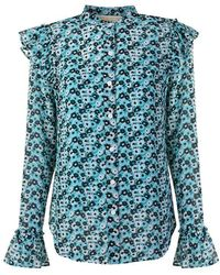 MICHAEL Michael Kors - Floral Long Sleeved Blouse - Lyst