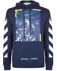 Off-White c/o Virgil Abloh Diagonal Print Hooded Sweatshirt - Blue