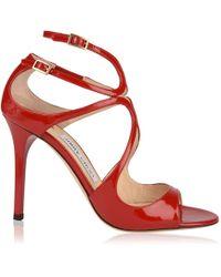 331a3eb30e0 Jimmy Choo Lorina 100 Heeled Sandals in White - Lyst