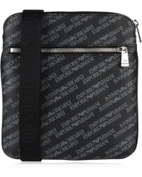 Emporio Armani - All Over Logo Print Cross Body Bag - Lyst