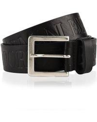 Emporio Armani Logo Embossed Belt - Black