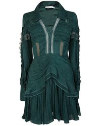 Self-Portrait Jacquard Lace Trimmed Mini Dress - Green