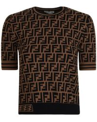 Fendi All Over Logo Top - Brown