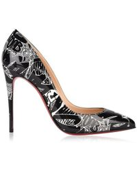Christian Louboutin Pigalle Follies Nicograf 100 Printed Patent-leather Court Shoes - Black