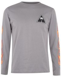 Palm Angels Flames Long Sleeve T Shirt - Grey