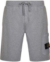 Stone Island Fleece Badge Shorts - Gray