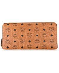 MCM Zip Around Wallet In Visetos Original - Brown